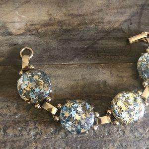 """Gold-Tone Confetti Stars Round Bubble Bracelet 7"""""""